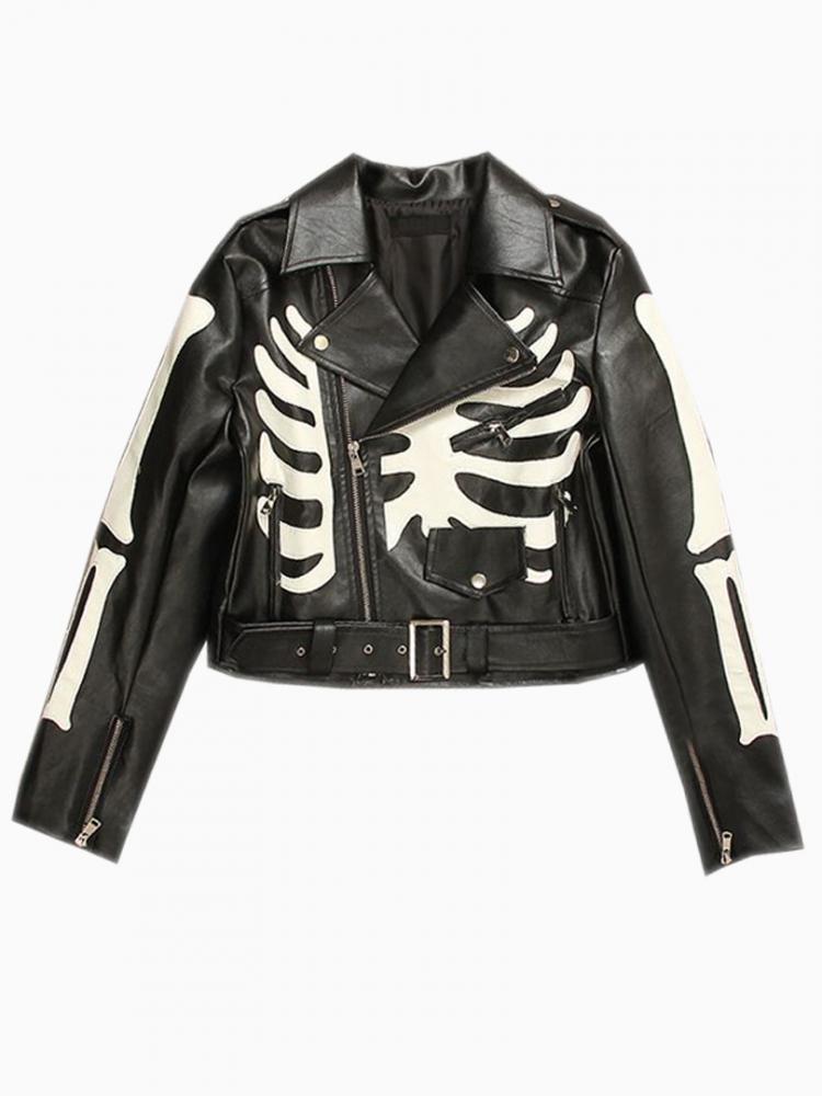 Black Leather Biker Jacket With Skeleton Print | Choies