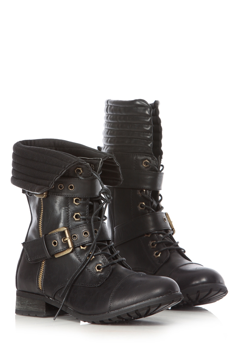 Faux Leather Lace Up Combat Boots @ Cicihot Boots Catalog:women's ...