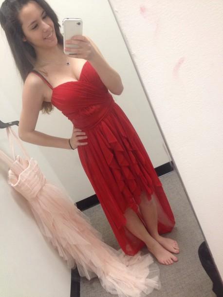 dress, red, prom, high low, straps, sweetheart, dillard\'s, rushing ...