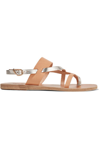 sandals leather sandals leather metallic beige shoes