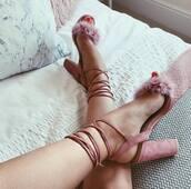 shoes,misspap,heels,pink heels,fluffy,suede heels,pink shoes,open toes,summer