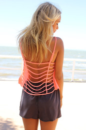 tank top,cage back,ustrendy top,ustrendy,neon,cage bag top