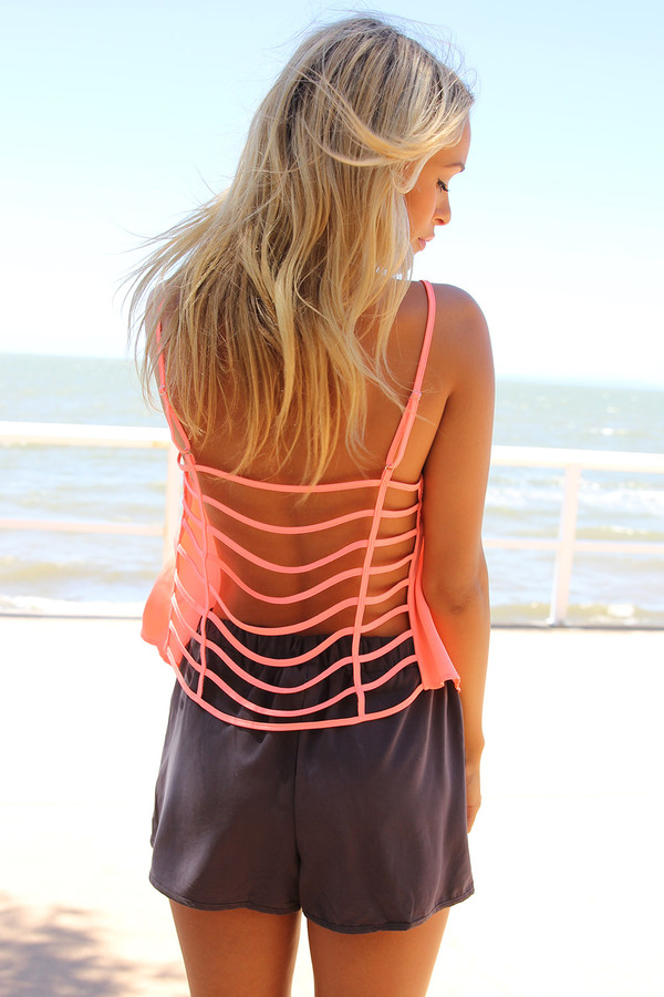 tank top cage back ustrendy top ustrendy neon cage bag top