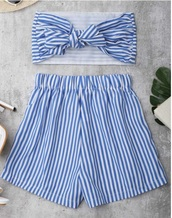 romper,girly,two-piece,blue,white,stripes,bandeau top,crop tops,crop,cropped,bow,shorts