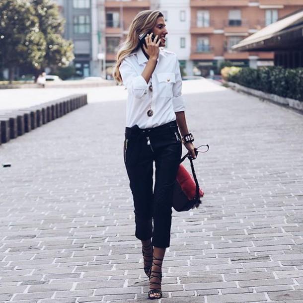 shirt tumblr white shirt pants black pants cropped pants cropped bag sandals sandal heels high heel sandals black sandals
