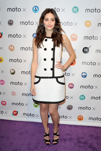 dress sandals emmy rossum black and white