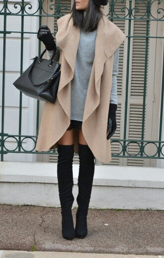 shoes black heels black boots leather boots thigh-high boots boots high heels bag black bag cardigan dress coat sweater