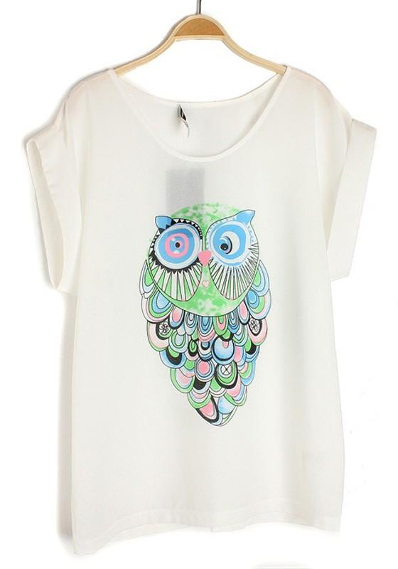 White Owl Print Round Neck Loose Chiffon T-Shirt