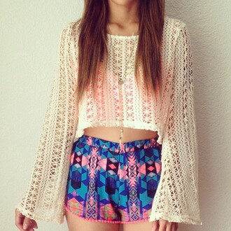 shorts colorful shorts blouse shoes tank top sweater knitted sweater knitwear cute sleeves white summer summer outfits summer shirt tumblr girl tumblr fashion trendy trends 2014 pink by victorias secret top pullover hippie hippie chic hippie shirt aztec aztec short baggy shirt tumblr outfit tumblr clothes crochet crop tops sinched waist shirt hipster crop