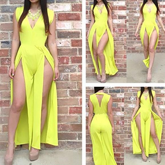 slits green jumpsuit