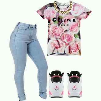 shirt floral pink roses pastel gold chain jordans light washed denim