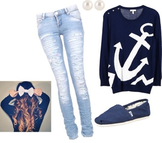 nautical sweater navy anchor nautical