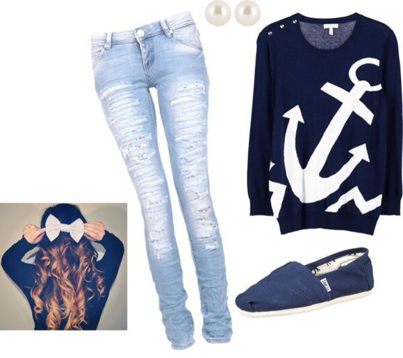 anchor nautical nautical sweater navy