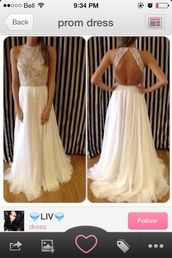 dress,prom dress,long prom dress,formal dress,gold and white dress,beige with jewels,white prom dress,beaded open back,sparkle,i seen this on goggle images and i really want to  to know where i can buy this,halter dress,off white prom dress,sequin dress,open back prom dress,white dress,backless white prom dresss