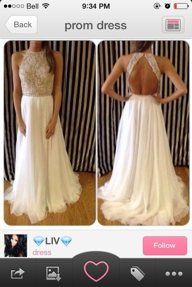 dress long prom dress halter dress off white prom dress sequin dress open back prom dress prom dress graduation dress formal dress