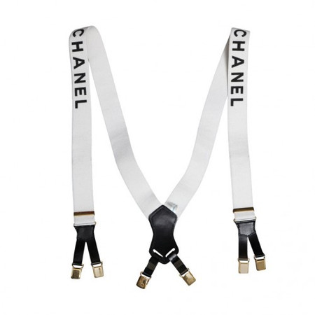 Vintage chanel suspenders with logos white ($1,200.00)