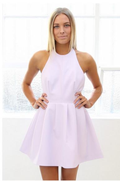 lavander high neck short dress formal party dress formal dress