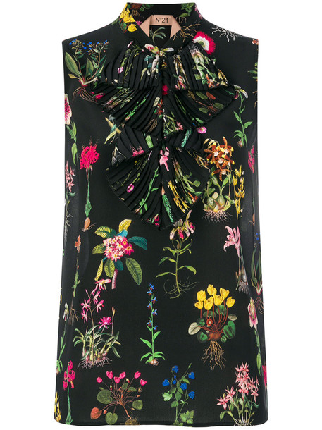 No21 blouse sleeveless women floral print black silk top