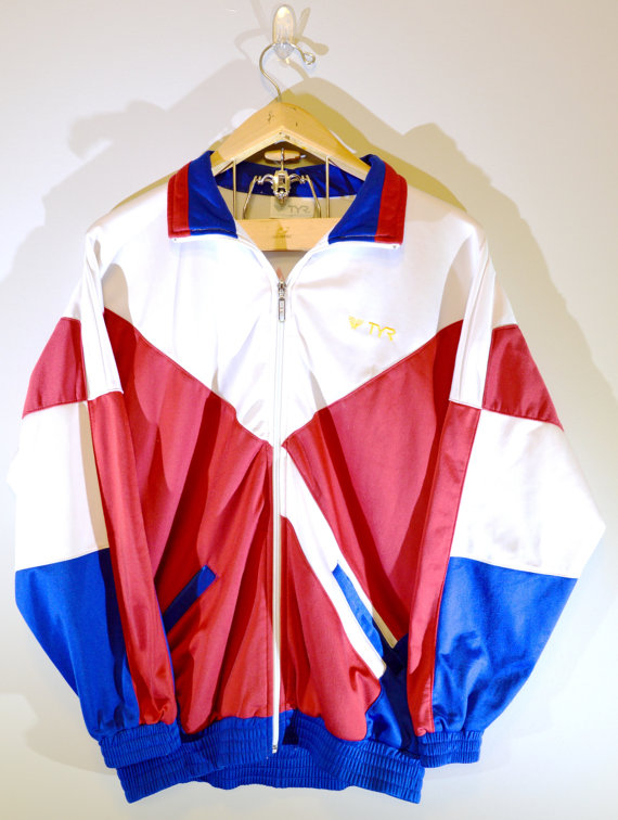 Retro Red, White and Blue Windbreaker Jacket - Team Singapore ...