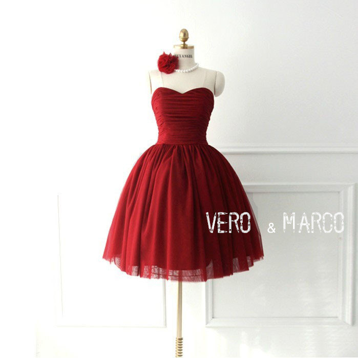 Sale!! Red sweetheart neckline knee-length A-line ruched tulle satin ...