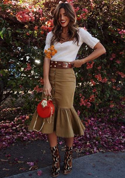 skirt fall outfits blouse blogger boots top instagram midi skirt purse rocky barnes
