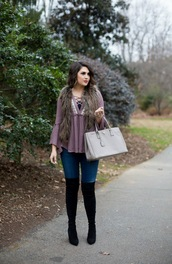 life & messy hair,blogger,shoes,bag,top,jeans,jacket,grey bag,handbag,thigh high boots,boots,faux fur vest,winter outfits,grey fur vest