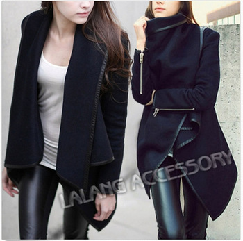 2014 Fashion Women Woolen Winter Warm Trench Overcoats Black Long Zipper PU Edge Worsted Asymmetric Coats Jackets Outwear 656486-in Wool & Blends from Apparel & Accessories on Aliexpress.com | Alibaba Group