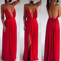 Onlyudress hot sale sexy long chiffon split front spaghetti sleeveless open back deep v