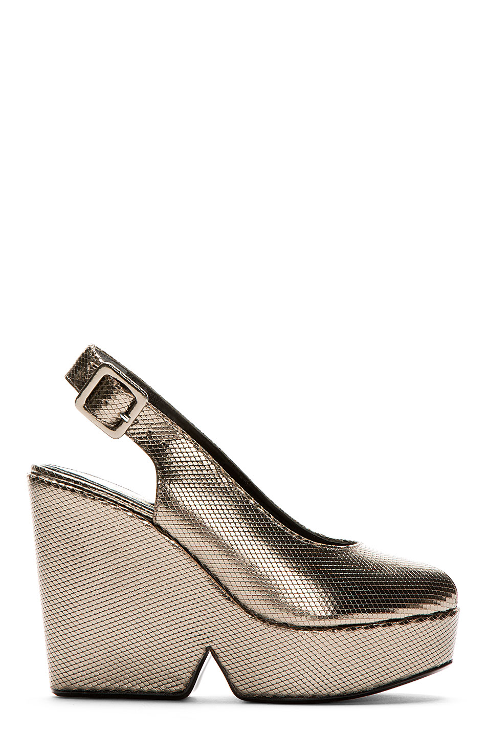 Robert clergerie gold lizard dylanh wedge sandals