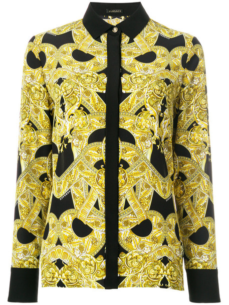 VERSACE shirt women print black silk top