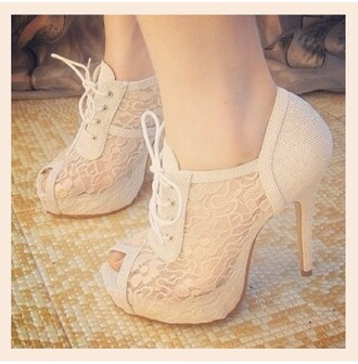 shoes high heels lace up lace white peep toe