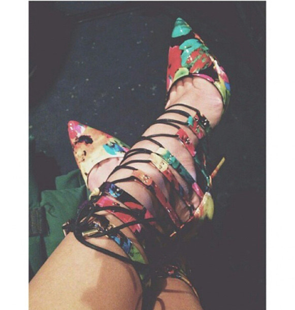 high heels floral high heels pretty shoes shoes floral shoes heels lace up floral spring shoes strappy high heel sandals lace up heels multicolor