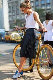 skirt,new balance,blue white,black,white,bike,white top,sunglasses,midi skirt,bicycles,pleated skirt