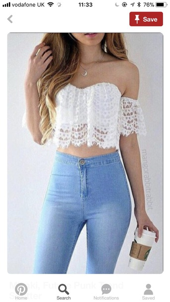 top white pretty summer lace top