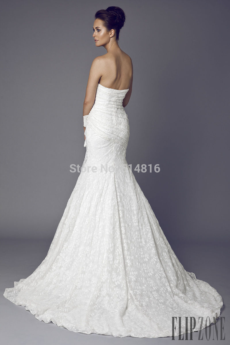 Aliexpress.com : Buy New Arrival Strapless Long Lace Mermaid Embroidery Wedding Dresses 2014 Vestidos De Noiva With Bow from Reliable wedding dress rose suppliers on Suzhou Babyonlinedress Co.,Ltd