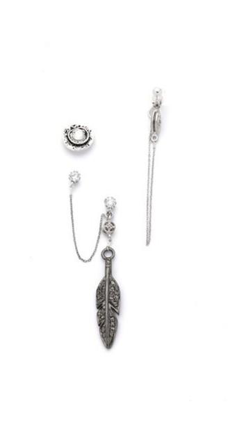 Vanessa Mooney Slow Talk Feather Earring Set - Silver