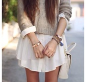 sweater,clothes,dress,skirt,white,sorry it's vague,button down,dress shirt,cute,off-white,white dress,t-shirt,cute dress,bag,jewels,chic,blouse,shirt dress,long shirt,jumper,cream,beige,grey,top,long sleeves,cardigan,long sleeve shirt,knitted sweater,knitwear,white skirt,bracelets,jewelry,gold bracelet,white bag,leather bag,cute top,winter outfits,girly,shirtdress,layered