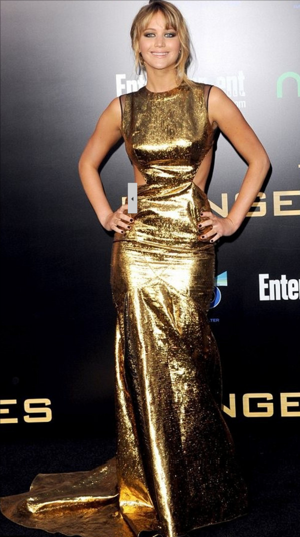 dress long dress gold dress fashion jennifer lawrence celebrity style