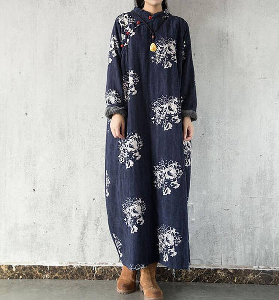 dress cotton winter robe long sleeves long dress