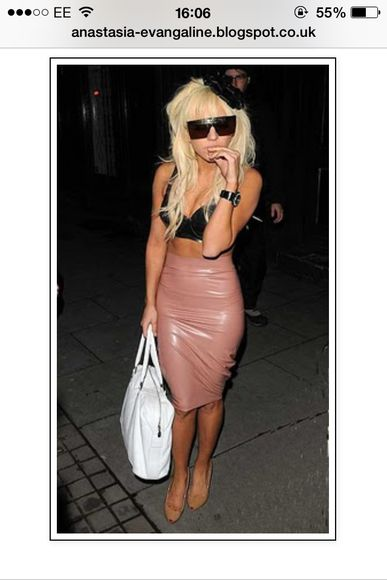 lady gaga skirt pvc pencil skirt tight fitted nude beige pink