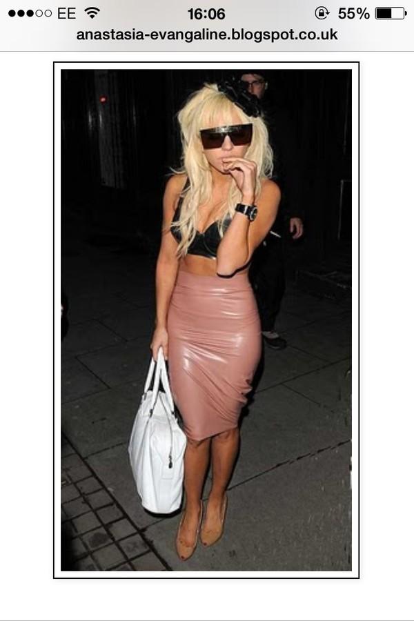 skirt lady gaga pvc pencil skirt tight tight nude beige pink