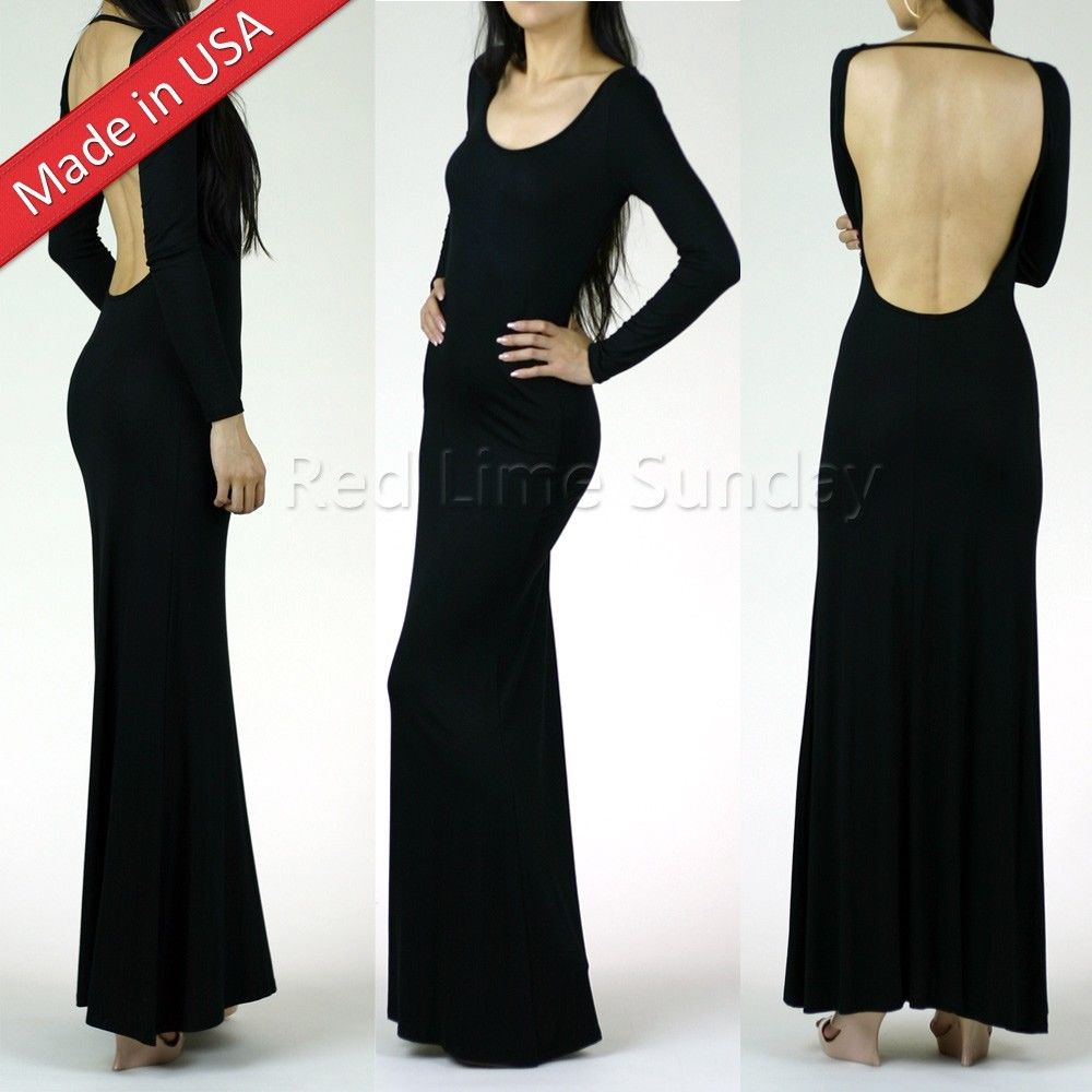 New Sexy Open Back Backless Minimalist Black Jersey Slip Long Maxi Dress S M L