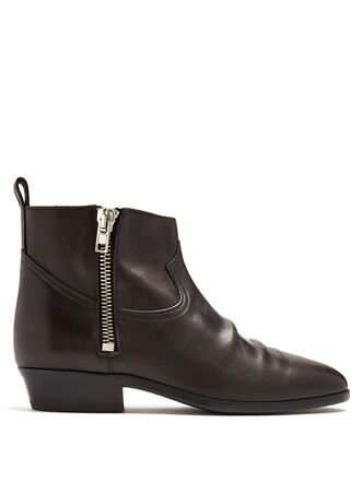 leather ankle boots ankle boots leather dark brown shoes