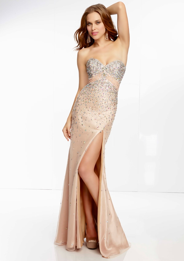Prom Dress From Paparazzi By Mori Lee Style 95060 Beaded Mesh Prom Gown with Open Back