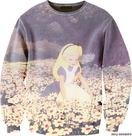 disney alice in wonderland alice sweater walt disney disneyland jumper floral buy purchase wonderland