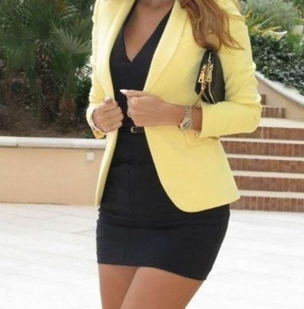 jacket yellow blazer little black dress dress blouse yellow jacket black dress bag coat yellow top