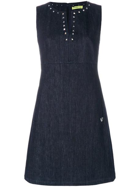 Versace Jeans dress studded women cotton blue