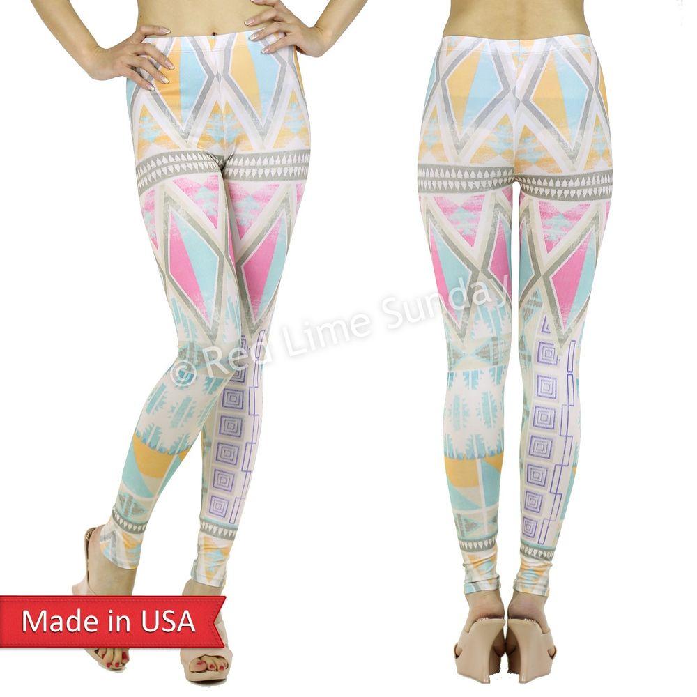 New cute aztec tribal multi color retro weathered print leggings tight pants us