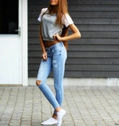 jeans,grey,ripped jeans,t-shirt,shirt,sweater,tumblr,tumblr outfit,tumblr girl,tumblr clothes,tumblr shirt,casual,comfy,grey t-shirt,white,socks,ripped,white ripped jeans,skinny jeans,skinny pants,high waisted skinny jeans,outfit,outfit idea,summer outfits,crop tops,women,teenagers,warm,sexy,dope,gorgeous,beautiful,love,pretty,high waisted ripped jeans,denim