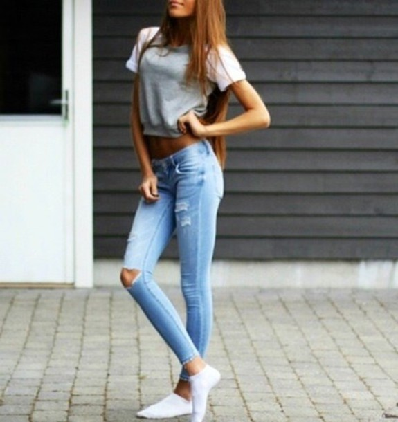 5da1dd5641a9 jeans grey ripped jeans t-shirt shirt sweater tumblr tumblr outfit tumblr  girl tumblr clothes